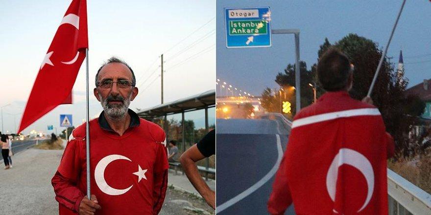 Darbe girişimini protesto için Ankara'ya yürüyen Çolak Bolu'ya ulaştı