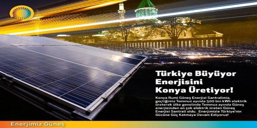 Konya Rumi Güneş Enerjisi Santrali Temmuz'da 500 bin kWh elektrik üretti