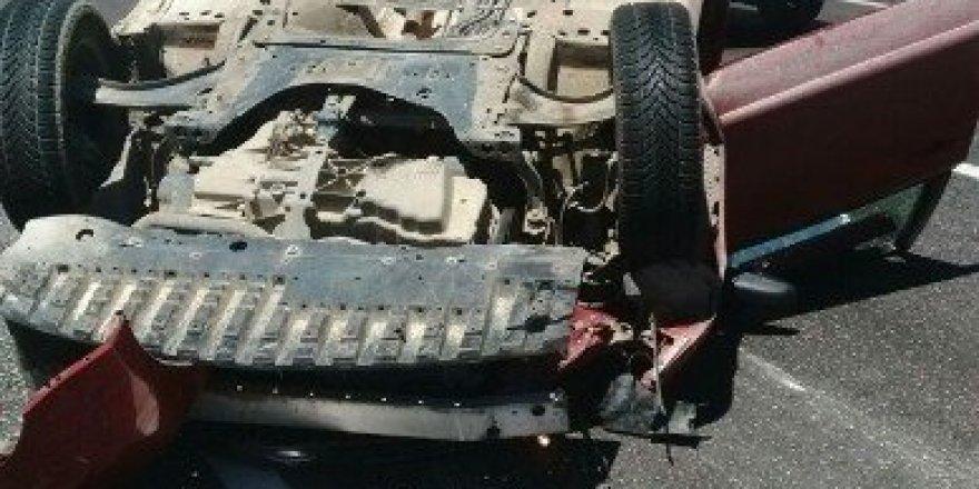 Mut'ta otomobil takla atıp ters döndü: 1 yaralı