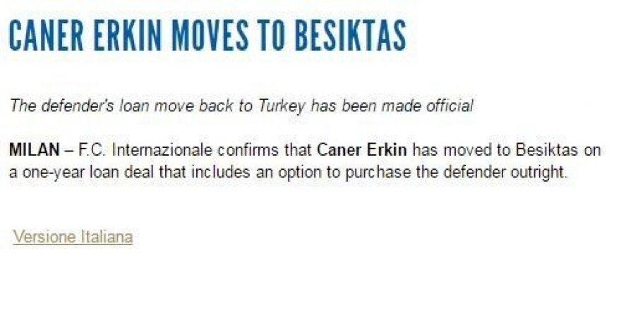 İnter, Caner Erkin'i Beşiktaş'a kiraladı