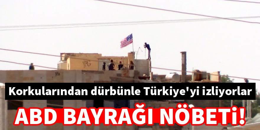 PYD'liler ABD bayrağı nöbetinde dürbünle Türkiye'yi izliyor