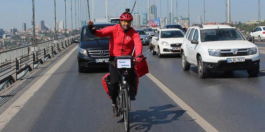 Darbeye karşı 2 bin 250 kilometre pedal çevirdi