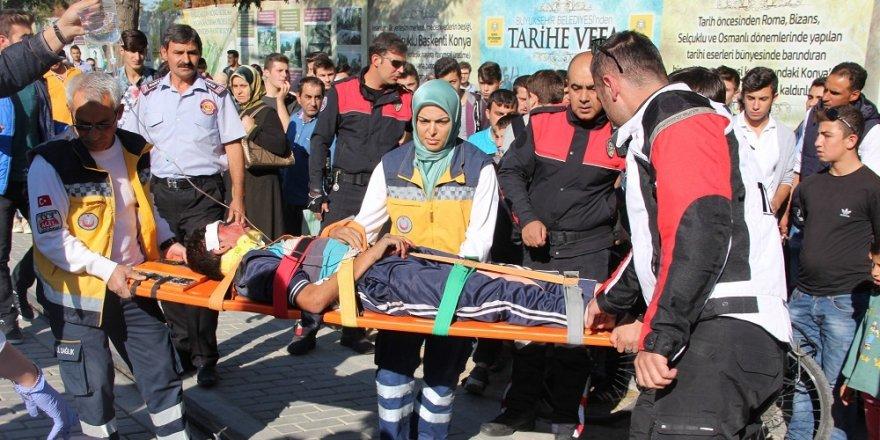 Konya'da tramvay yoluna düşen çocuk yaralandı