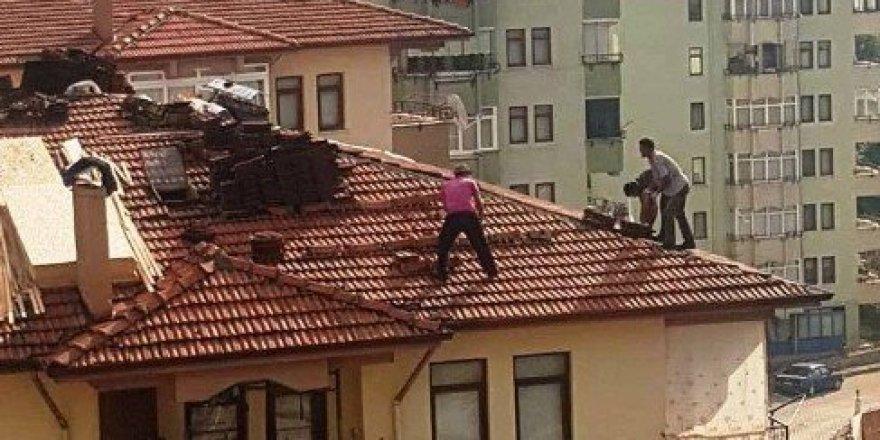 Çatıda ölümle burun buruna çalışıyorlar