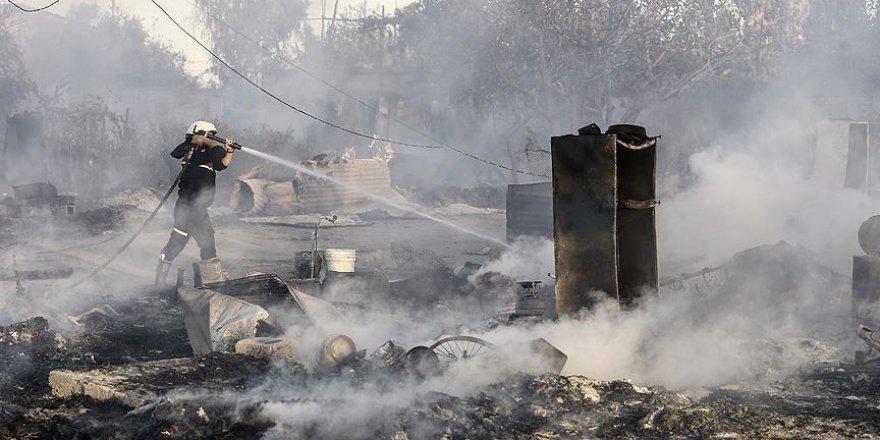 Tarım işçilerinin kaldığı çadırlar yandı