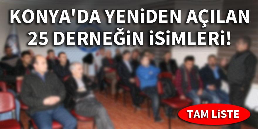 Konya'da yeniden açılan derneklerin isimleri tam liste