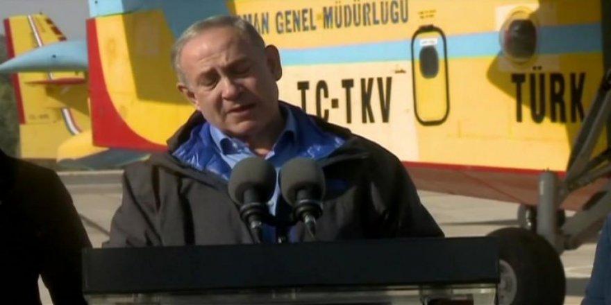 Netanyahu Türk uçaklarının önünde konuştu!
