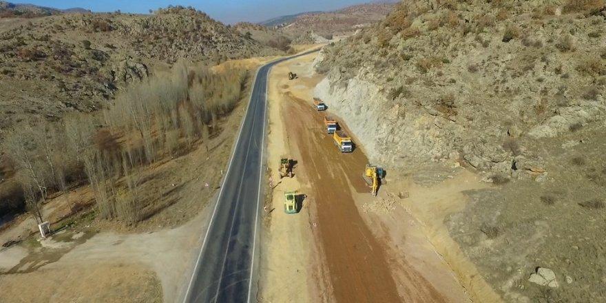 Konya-Beyşehir yol çalışmaları havadan görüntülendi