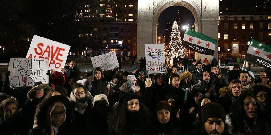 New York'ta Halep'le dayanışma eylemi