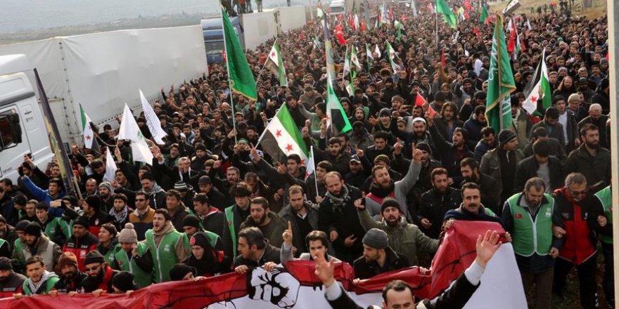 Reyhanlı'da Halep'teki sivillere destek yürüyüşü