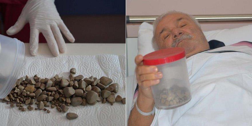 Mesanesinden binden fazla taş çıktı
