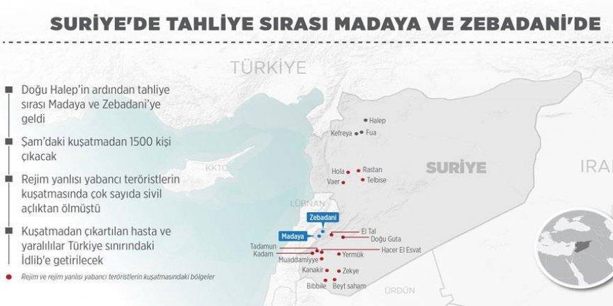 Suriye'de tahliye sırası Madaya ve Zebadani'de