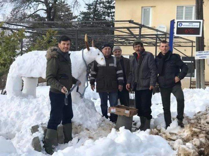 Kardan inek yapıp otla beslediler