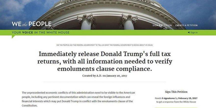 Trump'ın vergi iadeleriyle ilgili dilekçeye bir günde 130 bin imza
