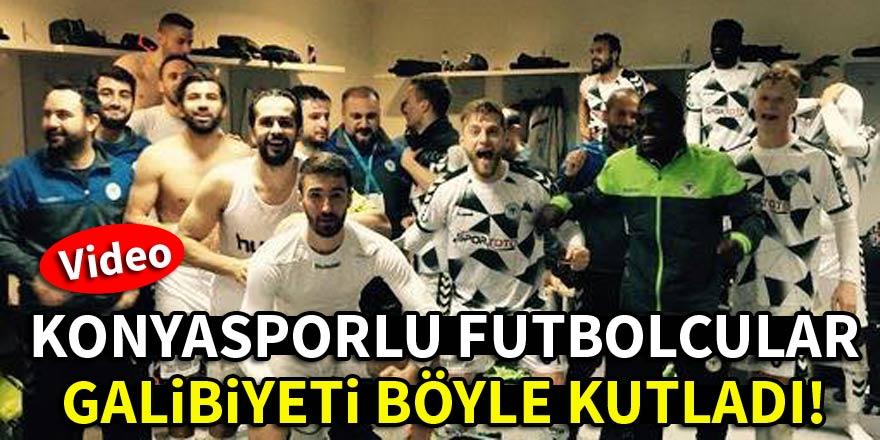 Konyasporlu futbolcular galibiyeti böyle kutladı