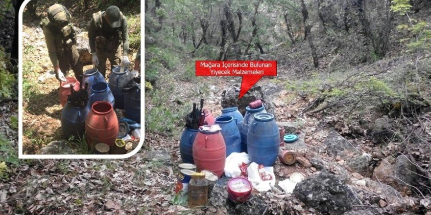 Üç odalı mağarada 260 kilogram yiyecek ile 1 adet EYP ele geçirildi