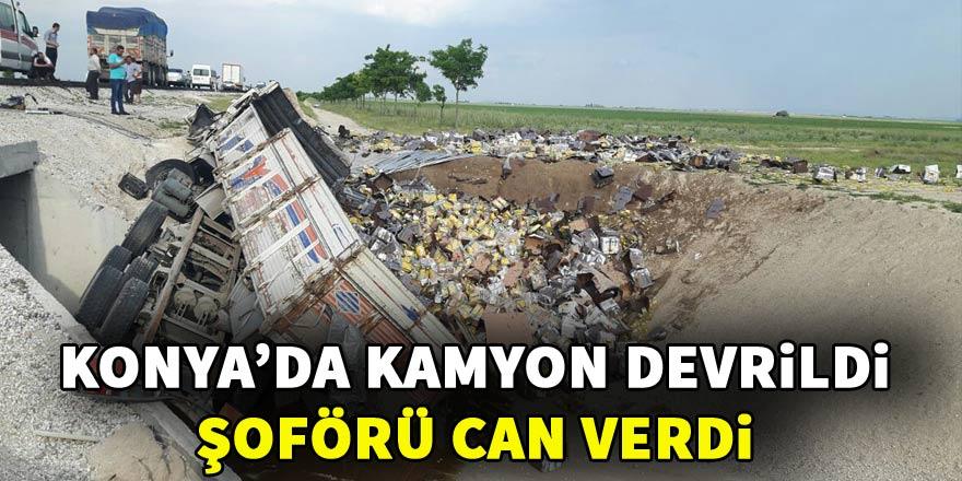 Konya'da sıvı yağ yüklü kamyon devrildi: 1 ölü