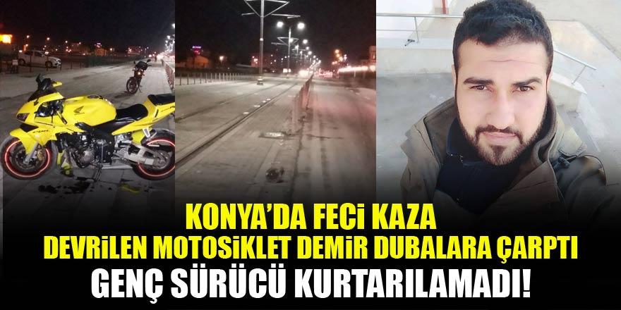 Konya'da feci kaza! Demir dubalara çarpan genç sürücü kurtarılamadı...