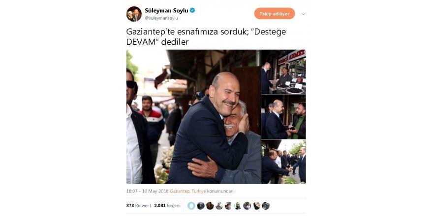 """İçişleri Bakanı Soylu'dan Gaziantep'te """"Devam"""" mesajı"""