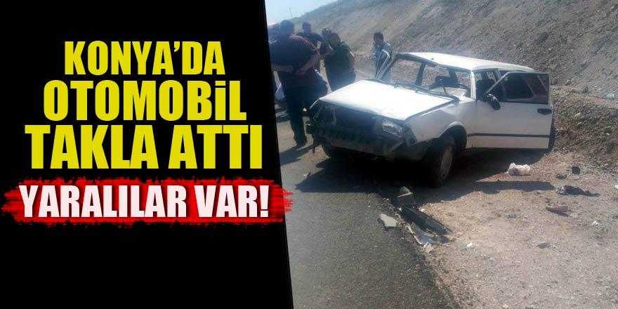 Konya'da otomobil takla attı!