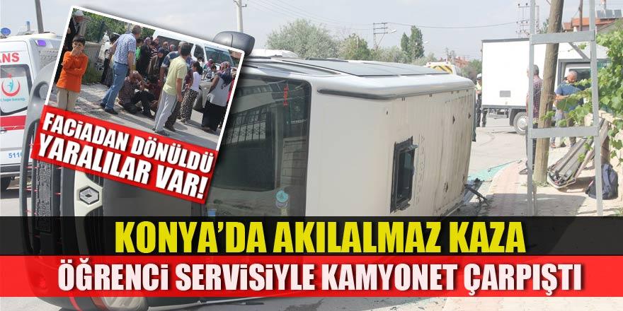 Konya'da öğrenci servisiyle kamyonet çarpıştı