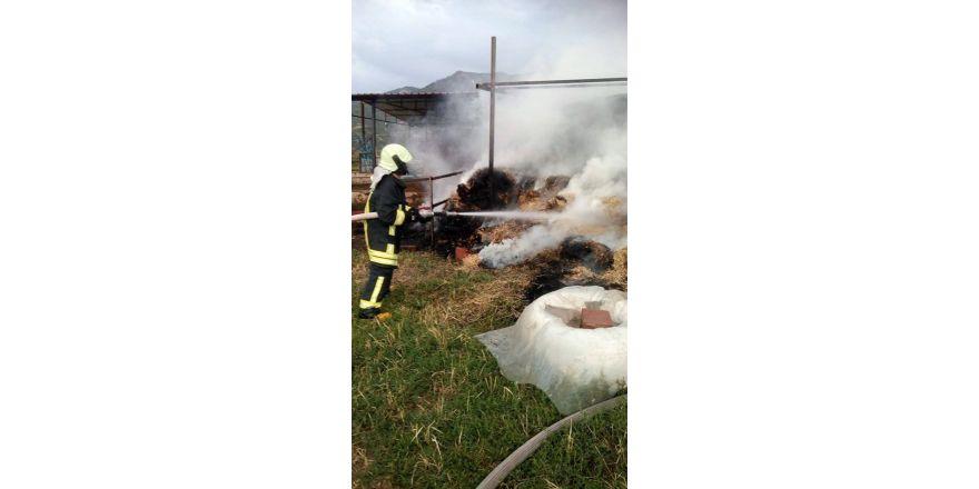 Denizli'de samanlık yangını