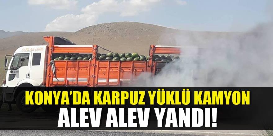 Karapınar'da kamyon yangını