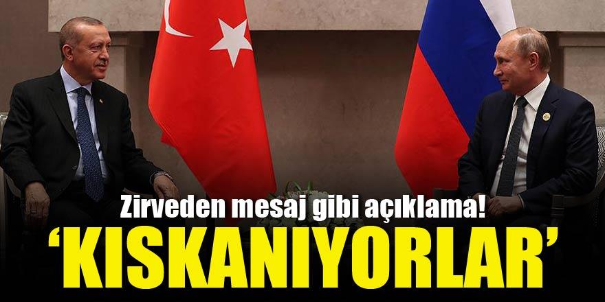 Erdoğan-Putin zirvesinde mesaj gibi açıklama!