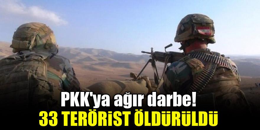 PKK'ya ağır darbe! 33 terörist öldürüldü