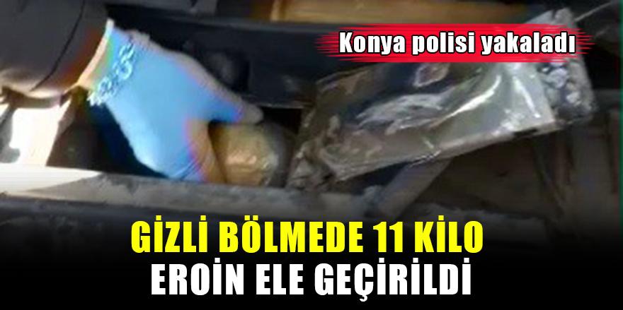 Konya'da aracın gizli bölmesinde 11 kilo eroin ele geçirildi!