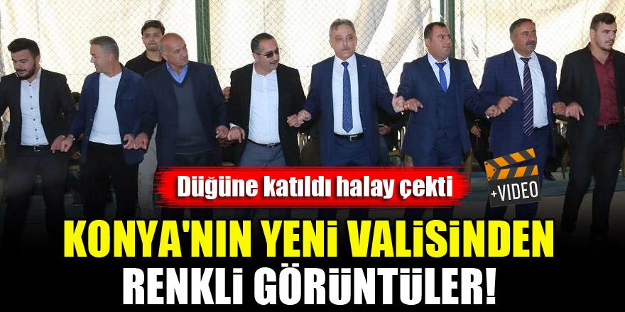 Konya'nın yeni valisinden renkli görüntüler! Düğünde halay çekti