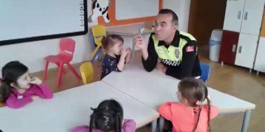 Trafik polisinden öğrencilere trafik eğitimi