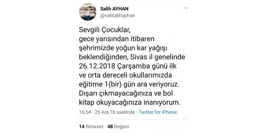 Sivas'ta kar uyarısı okulları tatil ettirdi