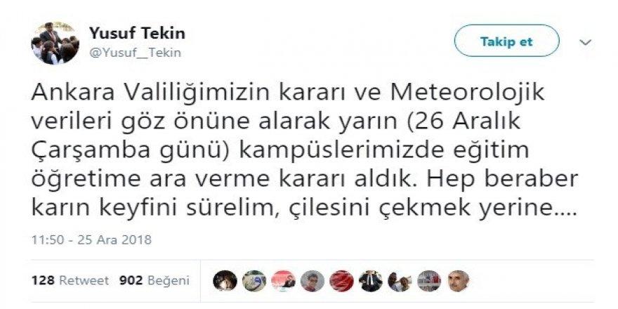 Ankara'da üniversite eğitimine kar molası