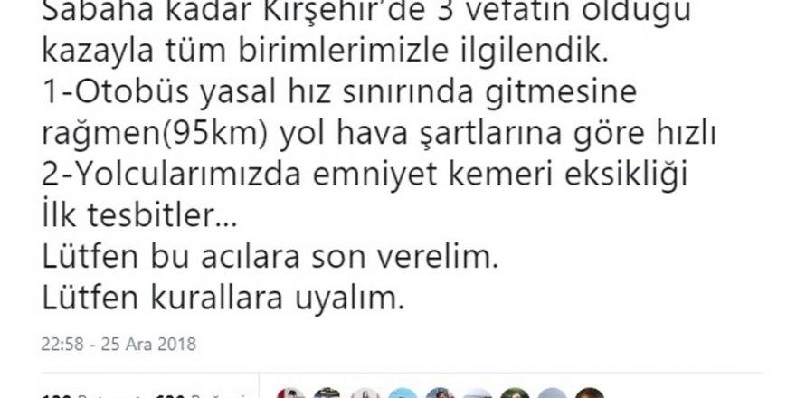 Bakan Soylu'dan Kırşehir'deki otobüs kazasına ilişkin açıklama