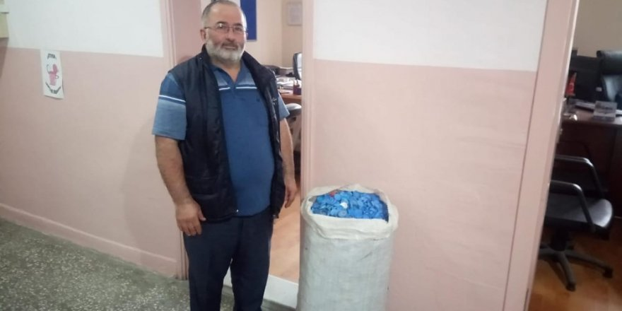 Milli Eğitim personelinden 'Kapaklar çöp değil, umut olsun' kampanyasına destek