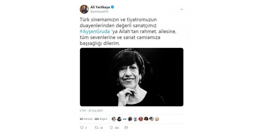 İstanbul Valisi Yerlikaya'dan Ayşen Gruda için taziye mesajı