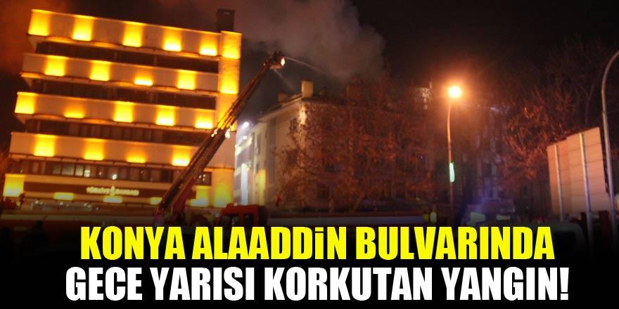 Konya Alaaddin Bulvarı'nda gece yarısı korkutan yangın!