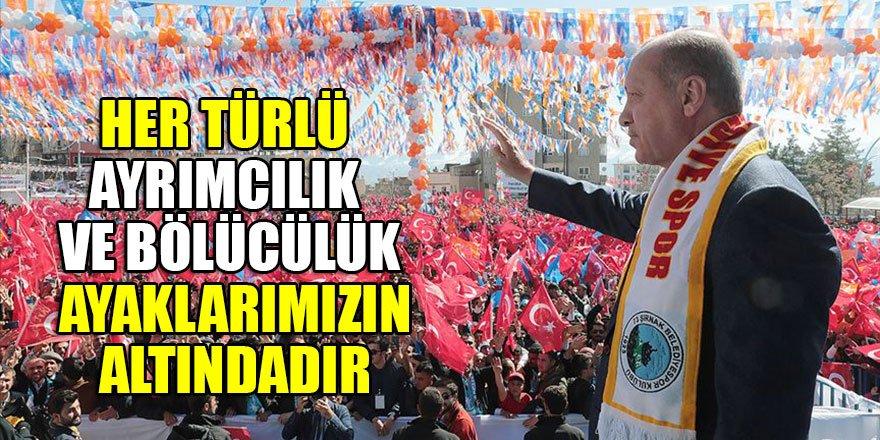 Cumhurbaşkanı Erdoğan: Her türlü ayrımcılık ve bölücülük ayaklarımızın altındadır