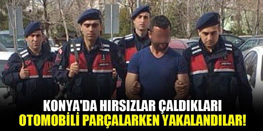Konya'da hırsızlar çaldıkları otomobili parçalarken yakalandılar!