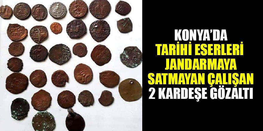 Konya'da tarihi eserleri jandarmaya satmayan çalışan 2 kardeşe gözaltı
