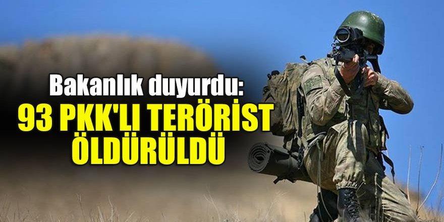 Bakanlık duyurdu: 93 PKK'lı terörist öldürüldü…