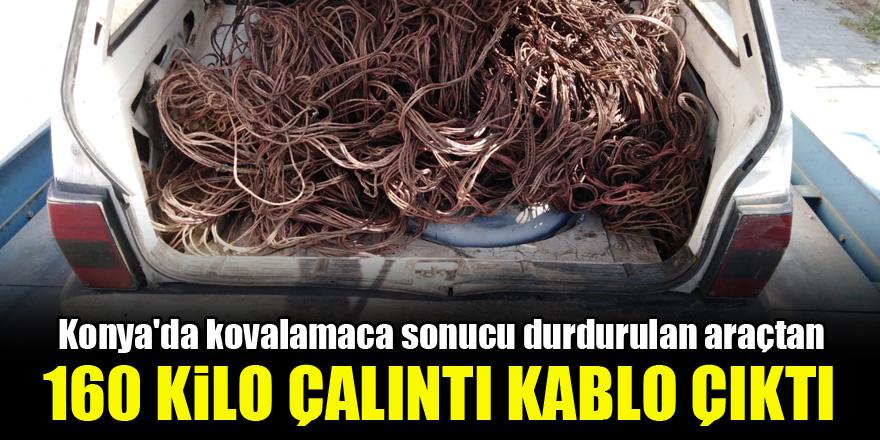 Konya'da kovalamaca sonucu durdurulan araçtan 160 kilo çalıntı kablo çıktı!
