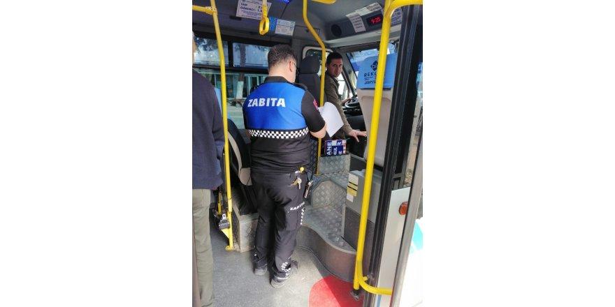 Biga'da zabıtadan toplu taşıma araçlarına denetim