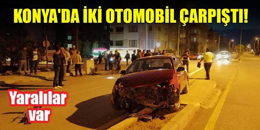 Konya'da iki otomobil çarpıştı! Yaralılar var