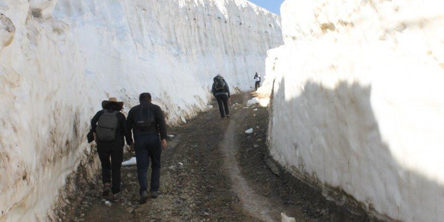 Temmuz ayında insan boyunu aşan kar kütleleri arasında yürüyüş