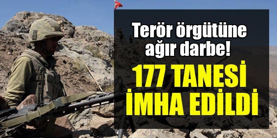 Terör örgütüne ağır darbe! 177 tanesi imha edildi