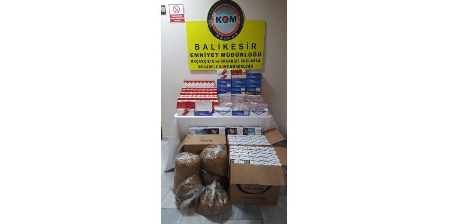Balıkesir polisi 147 kilo tütün ve çok sayıda makoron yakaladı