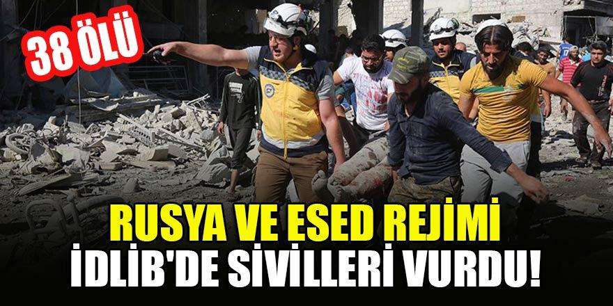 Rusya ve Esed rejimi İdlib'de sivilleri vurdu: 38 ölü
