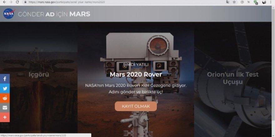 2,5 milyon Türk ismini Mars'a göndermek istiyor